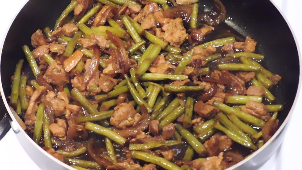 pork and beans adobo in pan