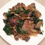 pork loin chops with spinach and mushrooms